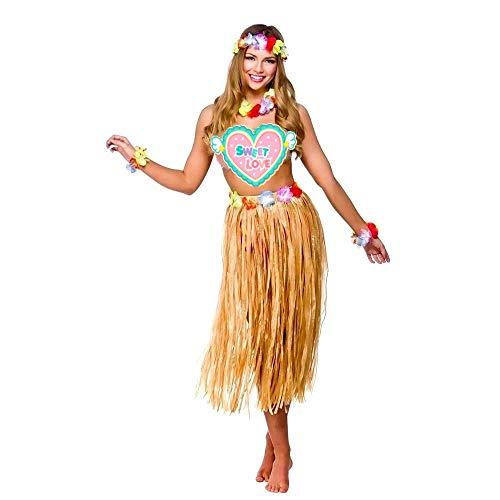 CHSYOO 4 en 1 Conjunto de Trajes de Fiesta de Hawai, Falda de Hula + Diadema de Flores + 2 Pulseras + Collar de Garland de Lei, Vestido de Lujo para niñas Mujeres Fiesta de Luau de Hawai