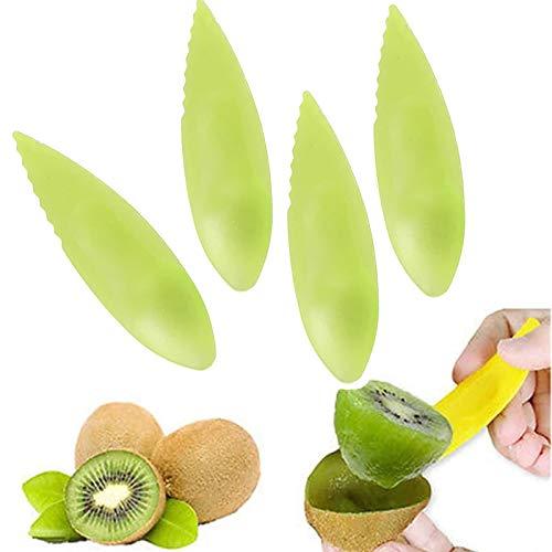 Kiwi Kunststoff-Löffel Obst Peeler Cutter Löffel Küche Gadget 2 in 1 Kiwi-Schneider Obstmesser Slicer Peeler Cutter für Küchenhelfer, Kiwi-Schäler, Löffel, Kunststofflöffel, Obstmesser, Schäler 10PCS