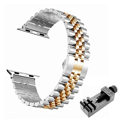 WSGGFA Correa de acero inoxidable para Apple Watch Band 6 SE 5 4 3 40mm 44mm metal 38mm 42mm reemplazo pulsera deporte banda para IWatch 6 5 3