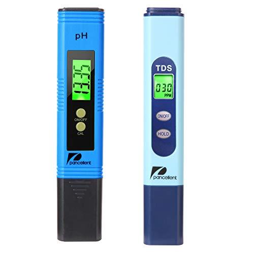 Pancellent Testeur de qualité de l'eau TDS PH 2 en 1 Set 0-9990 PPM Plage de Mesure 1 PPM Résolution 2% Précision de Lecture