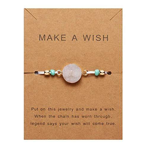 Unisex Armband Machen Sie einen Wunsch Bunte Naturstein gewebte Papierkarte Armband verstellbar für Männer und Frauen Freundschaftsschmuck (Weiß)