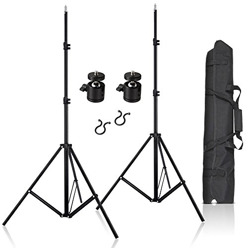 "Selens 2 Pcs 80 Inch Adjustable Aluminium Alloy Stands with 1/4"" Mount Ball Head and Carrying Bag for Vive VR"