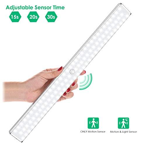 100 LED Sensor Licht, LOFTer LED Schrankbeleuchtung mit Bewegungsmelder Super Hell Kabellos Schrankleuchte Wiederaufladbar 4 Modi LED Schranklicht für Küche, Kleiderschrank, Flur, Treppe