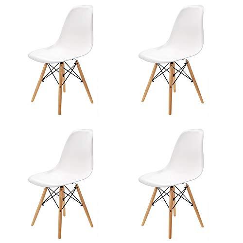 WV LeisureMaster 4er-Set Esszimmerstühle Beistellstühle Retro Kunststoffsitz und Holzbeine, Weiß
