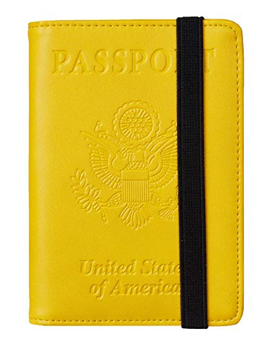 Travelambo RFID Blocking Leather Passport Holder Cover Case Travel Wallet Elastic Strap(Yellow NP fresh yellow)
