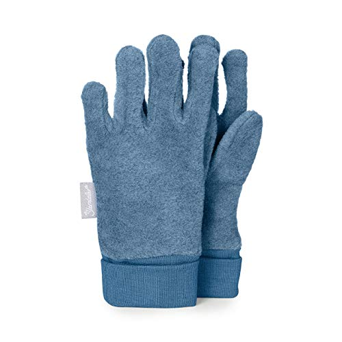 Sterntaler Fleece-Fingerhandschuhe mit elastischem Umschlag, Alter: 2-3 Jahre, Größe: 2, Mittelblau