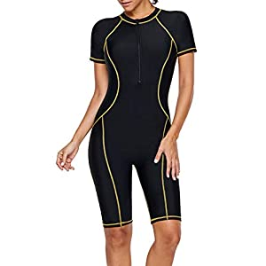 Lovezesent Womens Athletic Swimwear Zip Front Color Block Rashguard Short Sleeve One Piece Surfing Swimsuits Boyshort