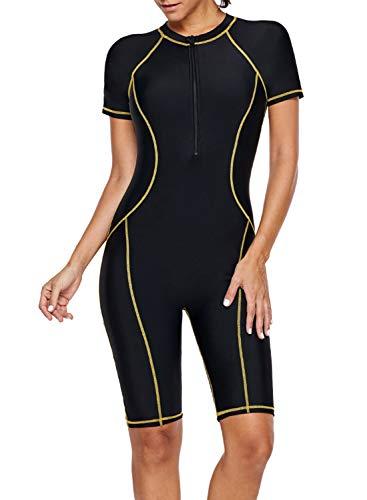 Lovezesent Womens Athletic Swimwear Zip Front Color Block Rashguard Short Sleeve One Piece Surfing Swimsuits Boyshort