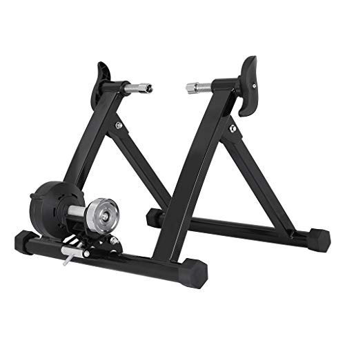 Fluid Bike Trainer Stand Portable Indoor Trainer with Magnetic Resistance Wheel Noise Reduction Progressive Resistance Stationary Exercise for Road amp Mountain Bikes Black