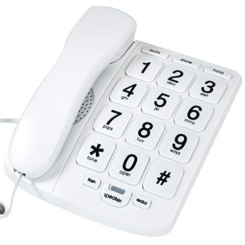 Tyler TBBP-4-WH Telephone for Seniors - Large Button Landline Phone for Elderly with Loud Speaker, Speed Dial, Ringer Volume Control, Wall Mount - Easy to See & Press Numbers - Works in Power Outage