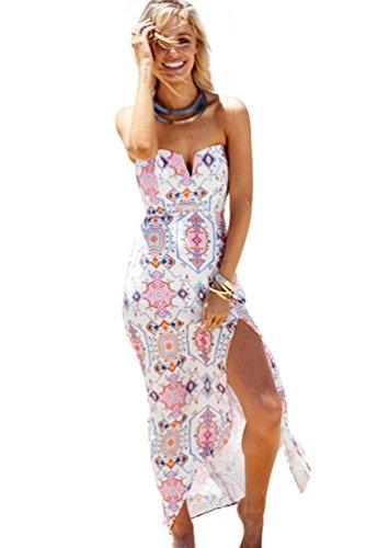 YAANCUN Donne Vintage Estivi Senza Maniche Fasciante Le Doppie Punte Casual Partito Festa Banchetto Vestito Dalla Spiaggia M