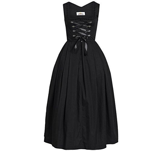Almsach Damen Trachten-Mode Langes Dirndl Marei in Schwarz traditionell, Farbe:Schwarz, Größe:30