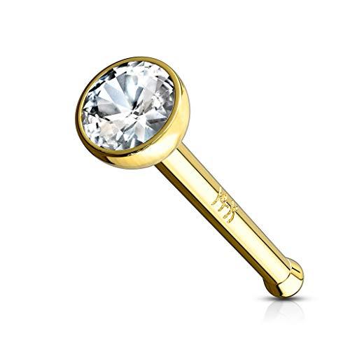 Tapsi´s Coolbodyart®| Nasen Piercing Stud Stecker 6 mm Gerade 14 K Echt-Gold Zirkonia flach rund weiß