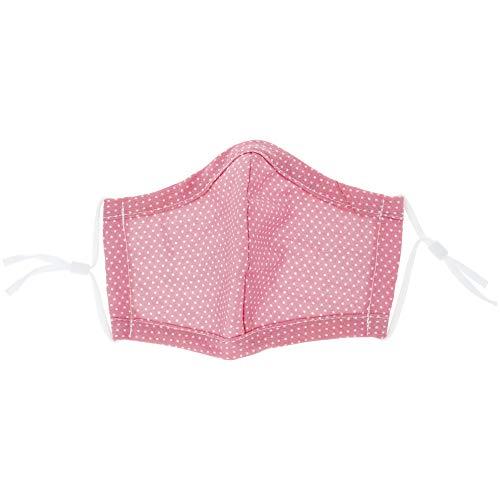 PARSA Beauty Waschbare Mund- und Nasenmaske atmungsaktiv waschbar bis 90 Grad, verstellbar, 100{93e2352e0e65e718779733b940ff48e79482ae00ae48960f53f3d06c491b21e8} Baumwolle OEKO-TEX 100 Standard (Kind, rosa mit weißen Punkten)
