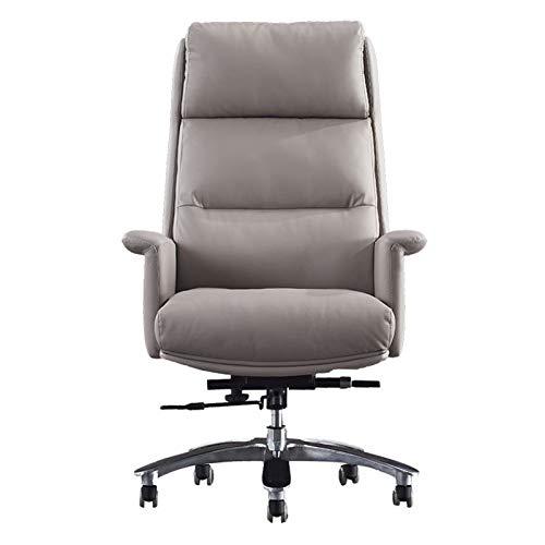 ZLQBHJ Sillas de escritorio de oficina, Silla de oficina Butaca de juego de ordenador Silla Ejecutiva silla de oficina, silla de cuero simples Silla giratoria de aleación de aluminio pies fijos apoyab