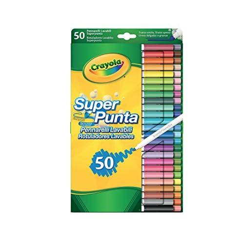 Crayola - Super Tips, Pennarelli Lavabili Punta Media, Confezione da 50 Pezzi, per Scuola e Tempo Libero, per Lavori di Lettering Creativo, Scrittura a Mano, Calligrafia, Colori Assortiti, 7555