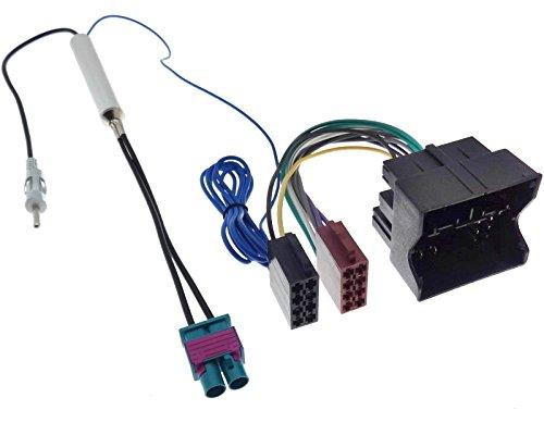 Radio Adapter Doppel Fakra-DIN ab 2009 Autoradio Antennenadapter Quadlock ISO Stecker Kabel Phantomeinspeisung kompatibel mit Audi Seat Skoda VW