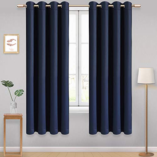 AONBAT 2 Panels Set Blackout Eyelet Curtains Super Soft Thermal Insulated Window Treatment Drapes for Bedroom Living Room Nursery, Navy Blue W66 x L72 Inch