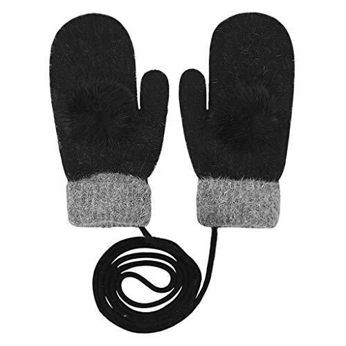 Gants Femmes Moufles Tricotés Laine Hiver Epais Thermique Mitaines Doigts Complets Extérieur Ski Snowboard Chaud Doux Elastique Gloves Cou Suspendu Anti-vent