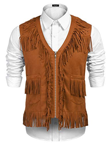 COOFANDY Mens Fringe Vest Hippie Costume Casual Western V Neck Zipper Suede Leather Waistcoat (Medium, Brown)