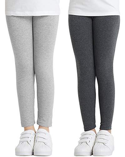 Adorel Leggings Algodón Pantalones Largos Niñas Pack de 2 Gris Claro & Gris Obscuro 7-8 Años (Tamaño del Fabricante 140)