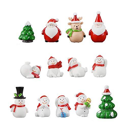 13 Stück Weihnachtsdeko Figuren Harz Miniatur Garten Figuren Kleine Schneemann Weihnachtsmann Baum Weihnachten Deko zum Schneekugeln Tischdeko Basteln Mini Ornamente für Fee Garten Bonsai Puppenhaus