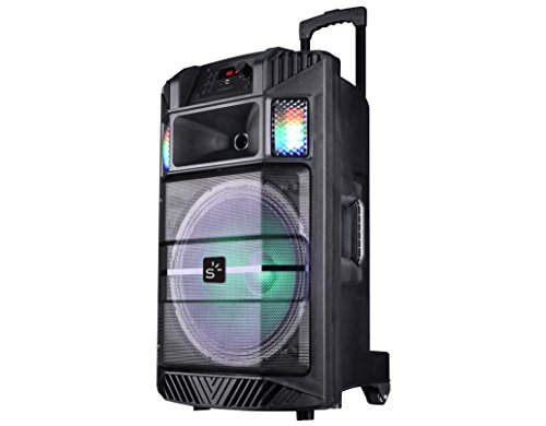 Sunstech MASSIVE-S30BK - Altavoz portátil con Bluetooth y iluminación Disco, Color Negro