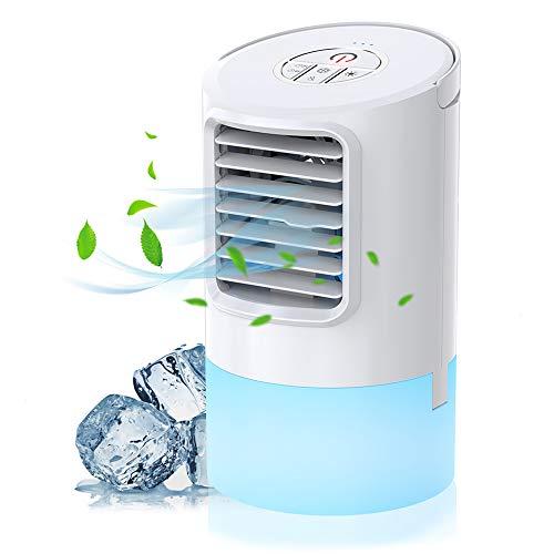 Nobebird Condizionatore portatile mini air cooler per climatizzazione con 2 timer, 3 velocità del vento, 7 colori diversi, bianco