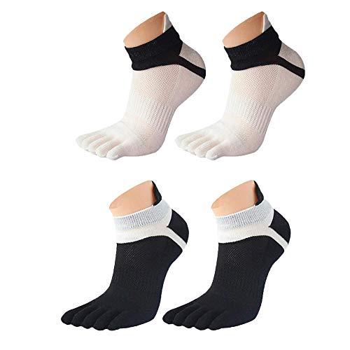 EQLEF Fünf Finger Socken Männer Toe Laufsocken Baumwolle Schwarz & Weiß Yoga Sport Toe Socken-2 Paar