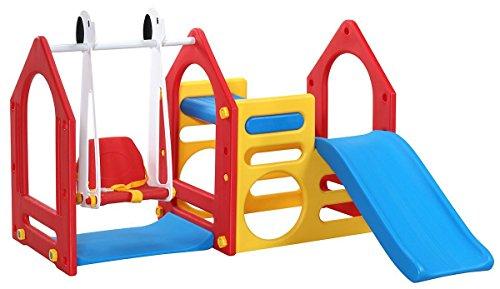 LittleTom Casa de Juegos para niños y niñas de 1 a 6 años con Tobogán + Columpio + Paneles de Escalada 155x135cm para Interior y jardín Rojo Azul Amarillo