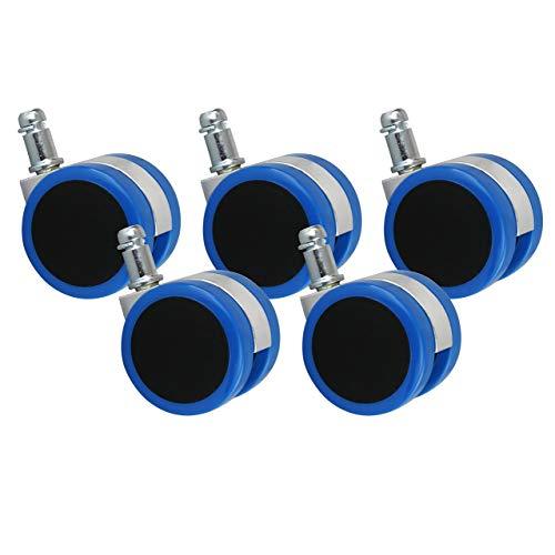 AMSTYLE Hartbodenrollen 5er Set Rollen für Bürostuhl Blau Stift 11mm/Durchmesser 50mm Parkettrollen für Parkett Laminat Linoleum Drehstuhlrollen Stuhlrollen für harte Böden