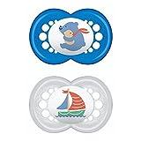 MAM Original Flow ZEDMM010M, Ciuccio, Set da 2, 6-16 Mesi, Caucciù, Blu, Modelli assortiti