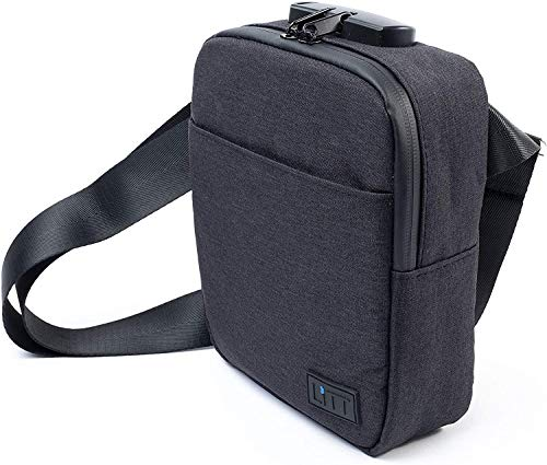 LiTT Smell Proof Stash Bag - Charcoal Lined, Cross Body Bag Blocks Smoking Odour | Travel Organizer & Lifestyle Accessory, Black | High Quality Fabric With Combination lock