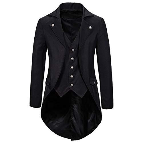 INLLADDY Herren Frack Jacke Anzug Blazer Lange Gothic Vintage Gehrock Uniform Smoking Kostüm Slim Fit Festlich Party Oberbekleidung Cosplay Mantel Männer Outwear Schwarz XXL