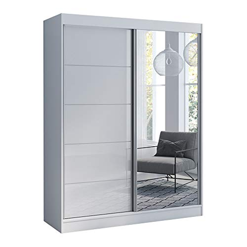 Best Buy! Aria 2 Door 59 Wide Modern High Gloss Wardrobe Armoire, White with Mirror