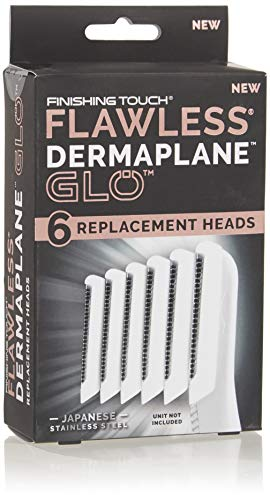 Finishing Touch Flawless Dermaplane Glo Facial Exfoliator Replacement Heads Only, Dermaplane Tool Not Included, White, 6 Count