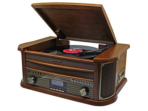 Soundmaster NR545DAB Retro Nostalgiecenter UKW DAB Radio Plattenspieler (33/45/78) CD-MP3 USB Kassette 75 Ohm Antennenanschluss Encoding (Aufnahme von Platte/CD/Radio auf USB/SD möglich)