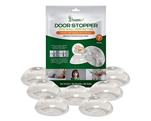 Door Stopper Wall Protector � Self-Adhesive Door Knob Wall Plate - Refrigerator Door Stops for Wall - Extra Protection Clear Round Door Knob Stopper for Wall � Easy Apply Wall Door Stopper � 7 PC Set