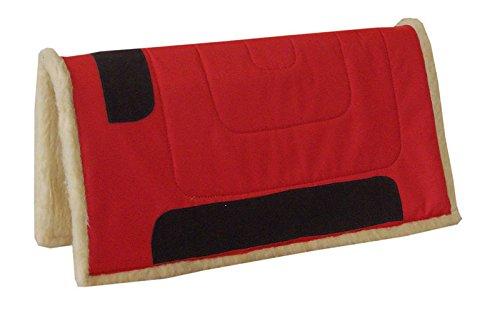 Reitsport Amesbichler AMKA Westernpad ROT Western Pad Inka mit Teddy Fleece Unterseite aus 100% Polyester, 75 cm lang x 80 cm breit, Lederverstärkt