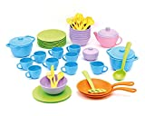 Green Toys 8601351, Koch-und Geschirrset für Kinderküche, Spielküche, Rollenspiel, nachhaltiges Küchenspielzeug für Kinder ab 24 Monaten, 61-teilig