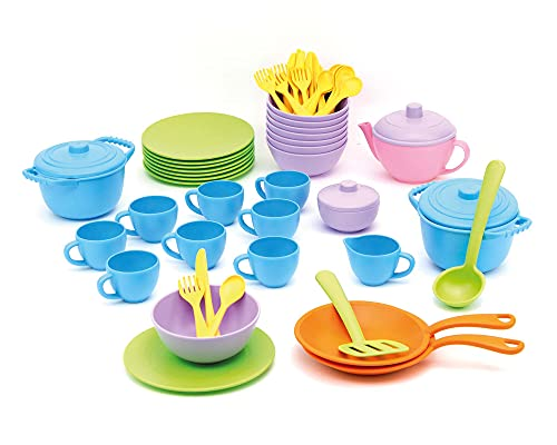 Green Toys Classroom Café Set - 61 Piece Pretend Play, Motor Skills, Language & Communication Kids Role Play Toy. No BPA, phthalates, PVC. Dishwasher Safe, Recycled Plastic, Made in USA.