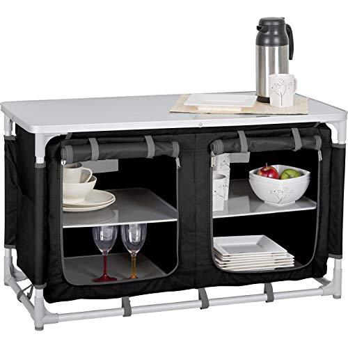 Berger Küchenbox Camping Sideboard, Alu, schwarz/grau, geringes Gewicht, Maße B 97 x H 56,5 x T 48 cm, Aufbau-Schrank