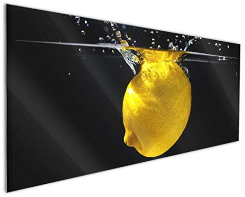 Wallario Küchenrückwand aus Glas, in Premium Qualität, Motiv: Zitrone im Wasser - Frisches Obst für die Küche   Spritzschutz   abwischbar   pflegeleicht