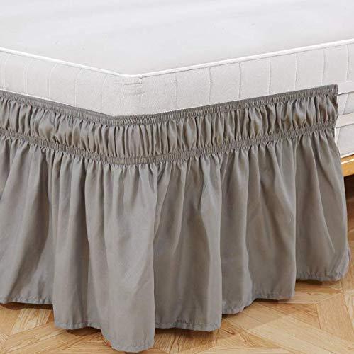Bettrock, gebürstetes Polyester, mit DREI Stoffseiten, elastischer Staub-Rüschen, leicht anzubringen, mit 38,1 cm Länge, Polyester (hellgrau, Super King Size: 78*80inch / 200 x 203 cm (198,1 x)