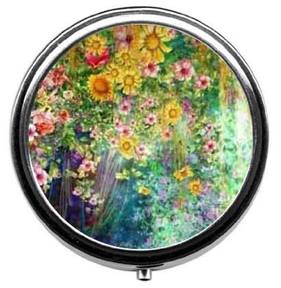 Abstract Watercolor Flowers Pill Box/Pill Case-Round Pill Box/Case- Three-Compartment Pill Box/Pill Case