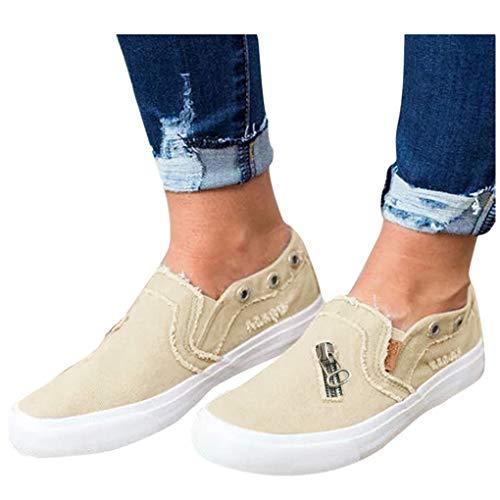 Billige Bequeme Sportschuhe für Damen/Dorical Frauen Canvas Sneaker, Low Übergrößen Flandell Top Basic Turnschuh Textil Schuhe/Schwarz, Blau, Beige, Pink 35-43 EU(Beige,39 EU)