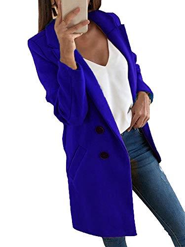 HUANG Chaqueta casual para mujer, de manga larga, de gran tamaño, con doble botonadura, formal de negocios, oficina, ol Outwear invierno