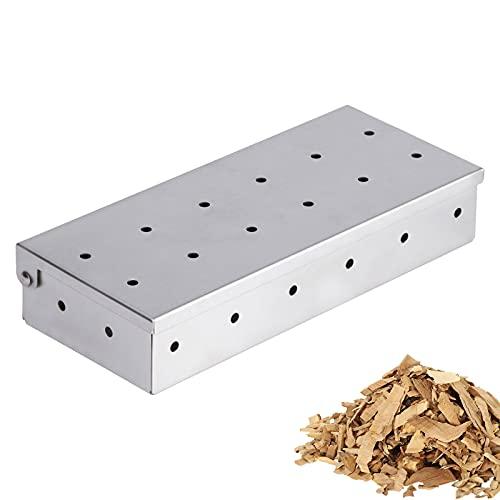 Smoker Box, Caja para Ahumar de Acero Inoxidable - Ahumador, Smoker Box para Barbacoas de Gas, Carbón y Leña, Accesorios para Barbacoa