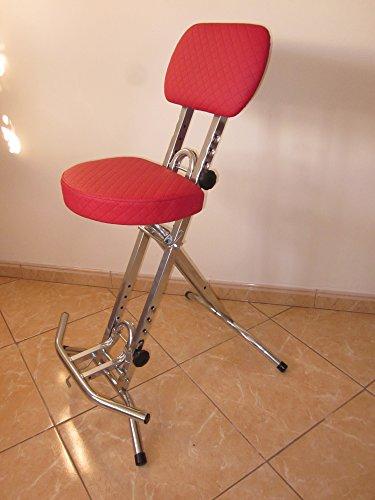 Stehhilfe Stehhocker Stehsitz Silber Rot ergonomischer 6 cm Sitz bis130 kg
