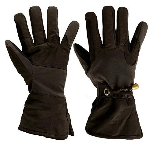 Kakadu Traders Australia - Guanti da equitazione idrorepellenti | Biker | Outdoor | Guanti in cotone cerato e pelle Nero XL